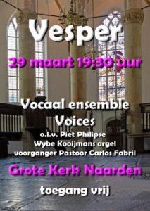 Vesper met Vocaal Ensemble Voices @ Grote kerk Naarden